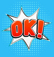 ok sign on blue background comic book style vector image vector image