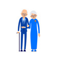 old couple elderly man in suit and bow tie stands vector image