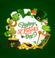 patrick day irish shamrock leprechaun hat gold vector image vector image