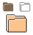 pixel icon folder in three variants fully vector image