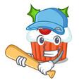 playing baseball character christmas cupcake with vector image vector image