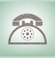 retro telephone sign brown flax icon on vector image