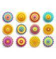 set 3d flowers chrysanthemums and sakura vector image vector image