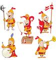Set of Cartoon Cute Knights vector image