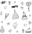 Set of celebratory icons in doodle style vector image vector image