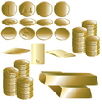 Set of gold coin and ingot vector image