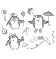set of hand drawn birthday elements with penguin vector image vector image