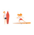 set people surfing in sea male and female vector image vector image