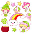set st patricks day icons in kawaii style vector image vector image