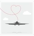 Silhouette of a plane with heart vector image vector image