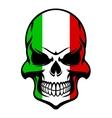 skull in colors italian flag vector image