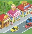 street with food shops vector image vector image