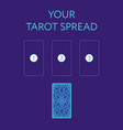 template for three tarot card spread reverse side vector image vector image