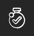 timer chalk white icon on black background vector image