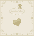 Valentines Day in vintage style vector image vector image
