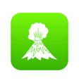 volcano erupting icon digital green vector image vector image