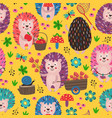 yellow seamless pattern with colorful hedgehogs vector image