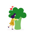 young girl hugging big broccoli vector image vector image