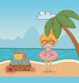 young girl on beach scene vector image vector image