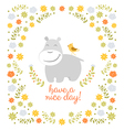 Happy hippo on floral background vector image