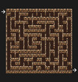 3d maze labyrinth with brick stone walls game vector image