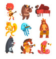 animals playing musical instruments set lion cow vector image vector image