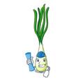 architect cartoon fresh green onions on cutting vector image vector image
