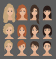 beautiful collection of female hairdo haircut vector image vector image