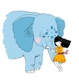 Beautiful girl and the elephant vector image
