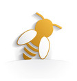 bee icon paper vector image vector image