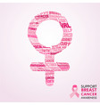 breast cancer awareness month pink female sign vector image vector image