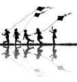 children silhouettes playing with kites flying vector image vector image