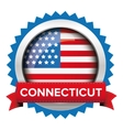 Connecticut and USA flag badge vector image vector image