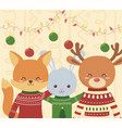 cute fox rabbit and deer christmas ugly sweater vector image vector image