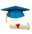 Cyan mortarboard and diploma - graduation cap vector image vector image