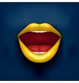 Dark Background of Womans mouth with open lips vector image