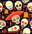 day of the dead mariachi skull emoji background vector image vector image