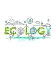 ecology world lettering composition colorful vector image vector image