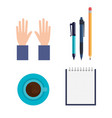 education supplies set icons vector image vector image