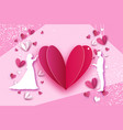 fall in love white romantic lovers hearts shape vector image