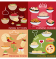 flat design banners with italianmexican chinese vector image vector image