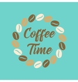 flat icon on background bean Coffee time logo vector image vector image