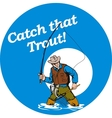 Fly fisherman fishing catching trout fish rod reel vector image vector image