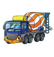 funny concrete mixer truck with eyes and mouth vector image vector image