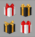 gift box with bow black and white vector image vector image
