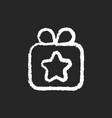 gift chalk white icon on black background vector image