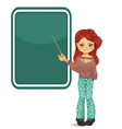 Girl pointing to blackboard vector image vector image