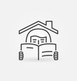 girl reading a book under house rolinear vector image