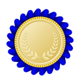 Gold medallion with blue ribbon vector image vector image