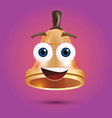 golden metal bell with face vector image